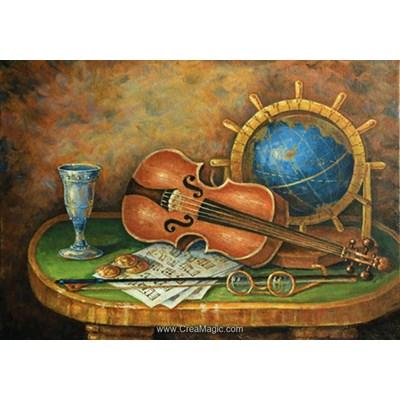 Kit broderie diamant violon et le globe de Diamond Painting