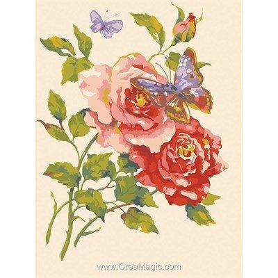 Canevas Collection d'art roses et papillons
