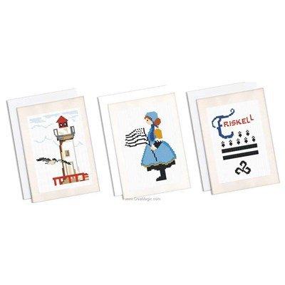 Kit carte lot de 3 cartes souvenir de bretagne à broder de Marie Coeur