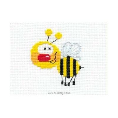 Modele mini kit au point de croix petite abeille - RIOLIS