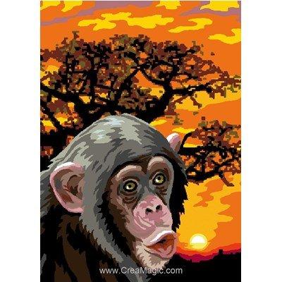 Chimpanzé et coucher de soleil canevas - Luc Création