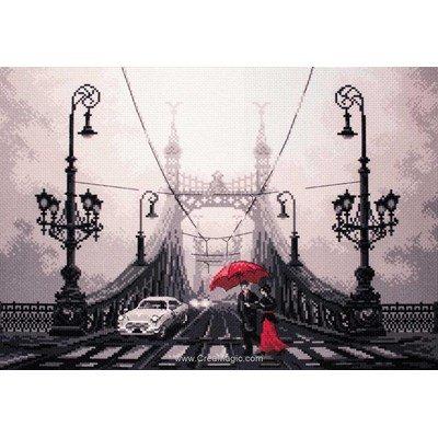 Broderie imprimée aida Collection d'art pont dans la brume