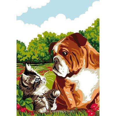 Bouldog et chaton canevas - Luc Création