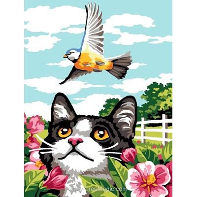 Le chat et l'envol de l'oiseau canevas - Margot
