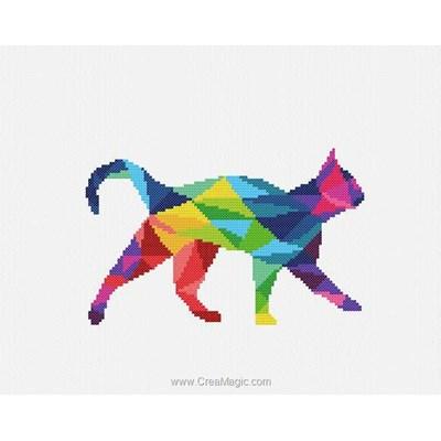 Tableau broderie point de croix chat coloré de Marie Coeur
