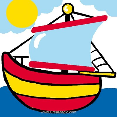 Kit canevas enfants Luc Création bâteau à voile