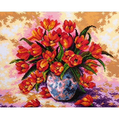 Kit broderie diamant tulips in the vase - Diamond Painting