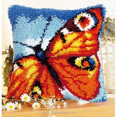 Coussin point noue Vervaco papillon orange