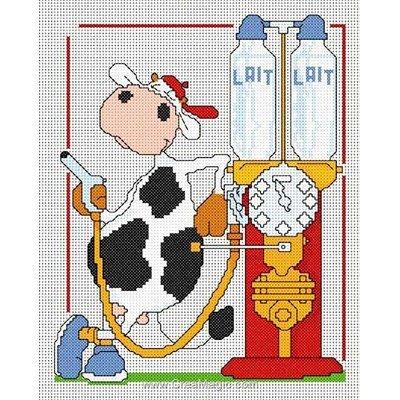 Modèle broderie point de croix Anagram pompe a lait - toile lin