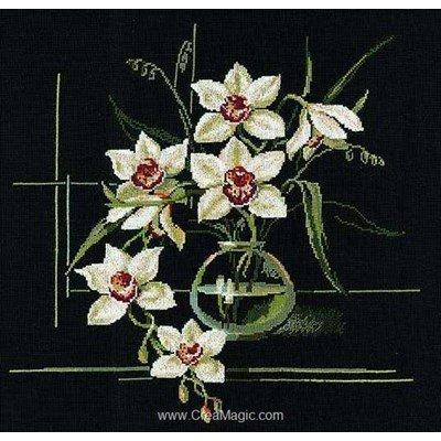 Tableau broderie point de croix les orchidées blanches de RIOLIS