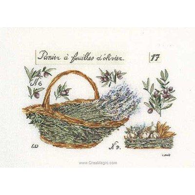 Point de croix compté Thea Gouverneur panier de lavande sur lin