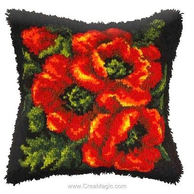 Coussin point noue trio de pavots d'Orchidea