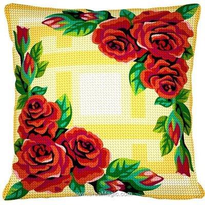 Kit coussin symétrie de roses au demi point Margot