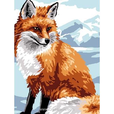 Kit canevas complet renard dans la neige de Luc Création