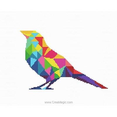 Oiseau coloré modèle broderie point de croix - Marie Coeur