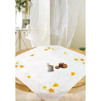 Kit surnappe Avila fleurs en jaune et orange à broder en broderie traditionnelle