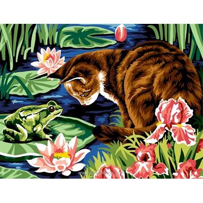 Le chat et la grenouille canevas - Margot