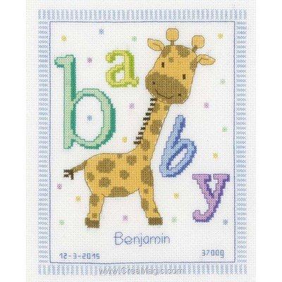 Broderie point de croix naissance tableau baby girafe - Vervaco