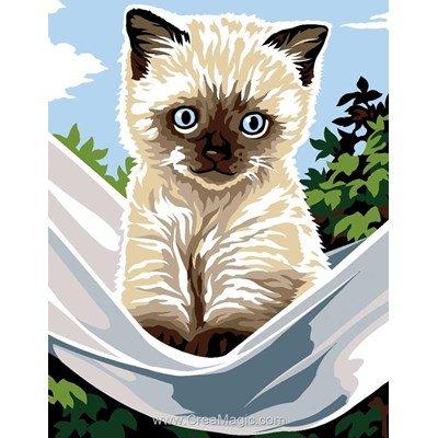 Canevas kit enfant complet chat sur le hamac de Margot
