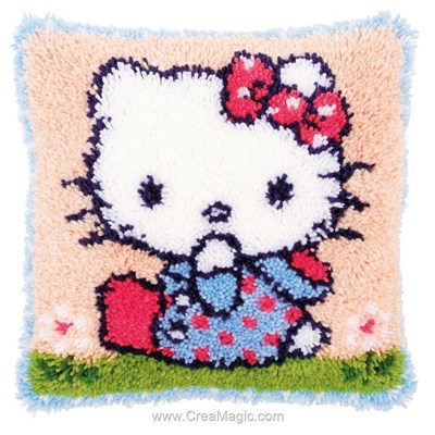 Kit coussin point noué hello kitty sur l'herbe de Vervaco