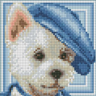 Kit broderie diamant dog with hat - Diamond Painting
