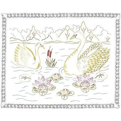 Kit napperon les cygnes en broderie traditionnelle de Luc Création DK6005