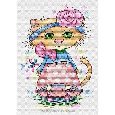 Chatte coquette broderie point compté - MP Studia