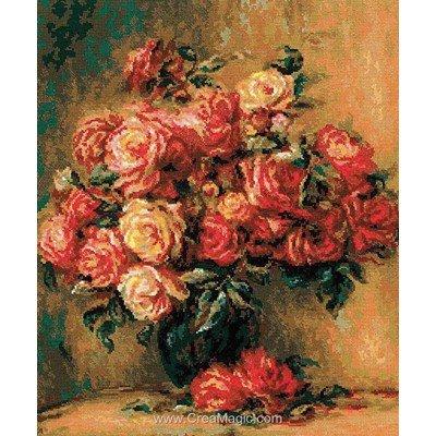 La broderie RIOLIS le vase chargé de roses
