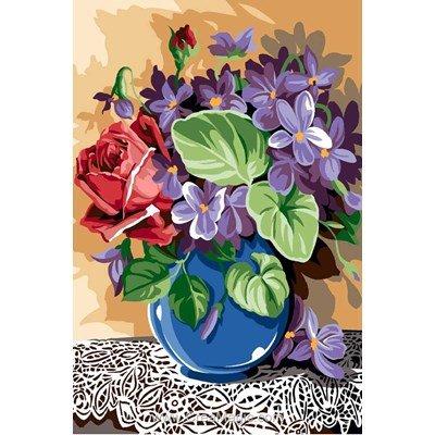Fleurs et napperon canevas - SEG