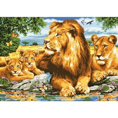 Famille royale du lion canevas de Collection d'art