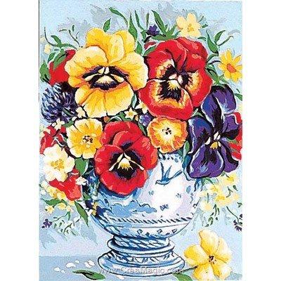 Vase de pensées colorées canevas chez Margot