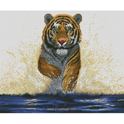 Kit broderie diamant Diamond Painting la course du tigre