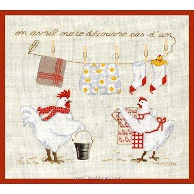 Kit point de croix de Le Bonheur Des Dames à broder les cocorico avec le linge