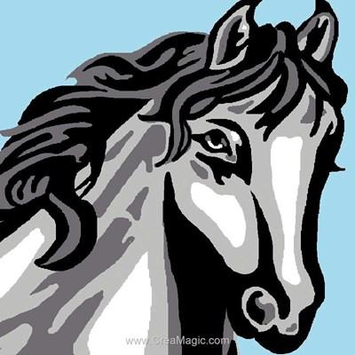 Kit canevas a broder pour enfants cheval gris - Luc Création