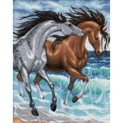 Broderie diamant Diamond Painting horses at the sea