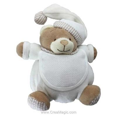 Peluche bébé BM RICAMI mon ours câlin écru à broder