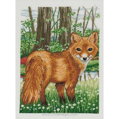 Broderie au point de croix point compté Permin the fox sur aida