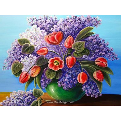 Kit broderie diamant Diamond Painting lilac bouquet
