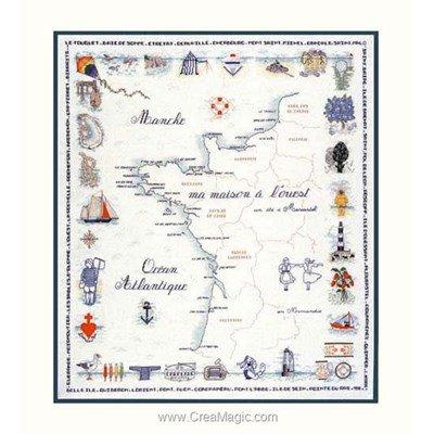 La côte ouest de france - toile lin modèle au point de croix - Le Bonheur Des Dames