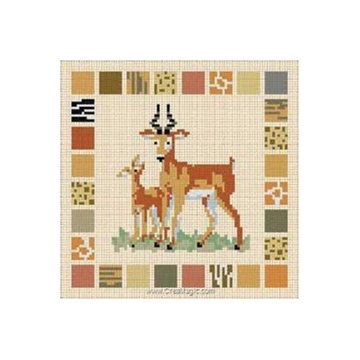 Carré D'As broderie au point de croix compté antilope et son bébé