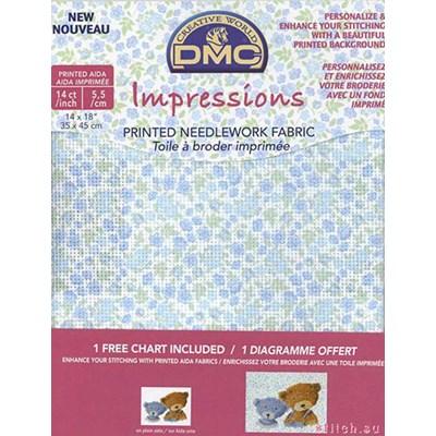 Toile aida 5,5 flower imprimée - bleu à broder - DMC