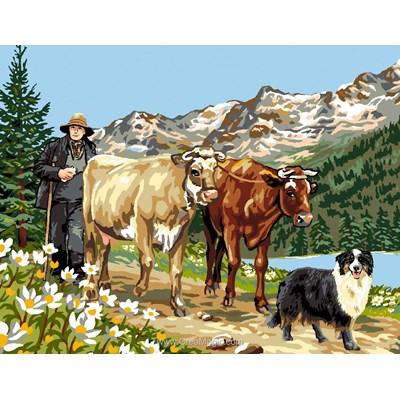 Le berger et ses 2 vaches canevas de Luc Création