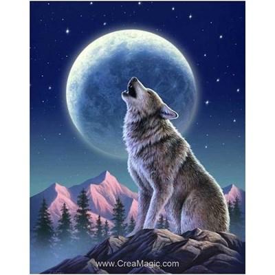 Kit broderie diamant Wizardi l'appel du loup au clair de lune