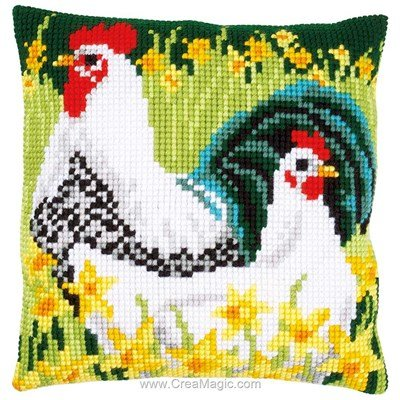 Kit coussin coq et poule aux narcisses au point de croix de Vervaco