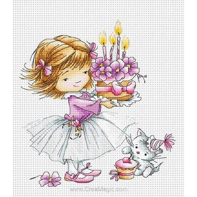 Tableau broderie point de croix fillette, chaton et gâteau de Luca-S