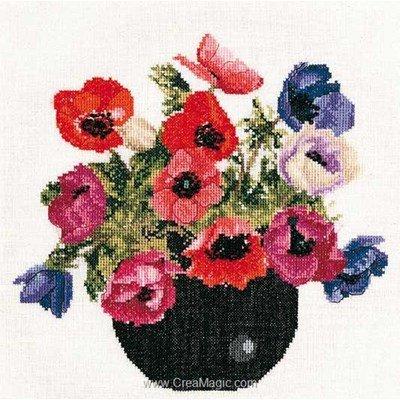 Le point de croix Thea Gouverneur bowl of anemones sur lin