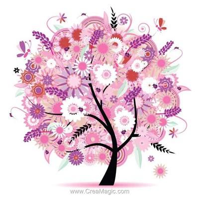 Kit broderie diamant l'arbre en rose de Diamond Painting