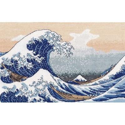 Modèle Oven au point de croix la grande vague de kanagawa