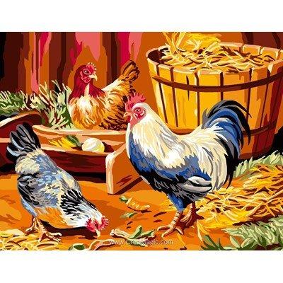 Canevas les poules à la ferme - Luc Création