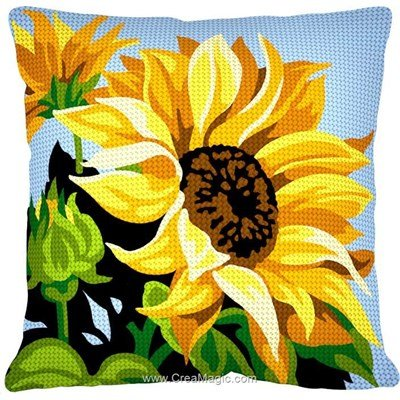 Kit coussin Margot tournesol à coeur au demi point